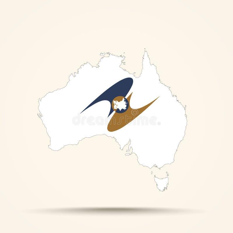 Mapa Australia w Eurazjatyckiej Ekonomicznej Zrzeszeniowej flaga barwi zdjęcie stock
