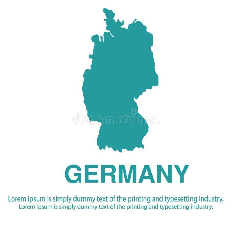 Mapa azul abstracto de Alemania con estilo plano del fondo blanco concepto global del tono medio del mapa del mundo ilustración del vector