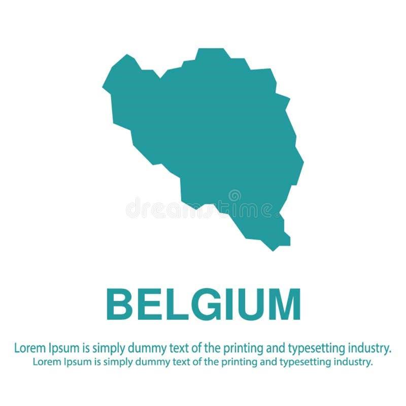 Mapa azul abstracto de Bélgica con estilo plano del fondo blanco concepto global del tono medio del mapa del mundo stock de ilustración