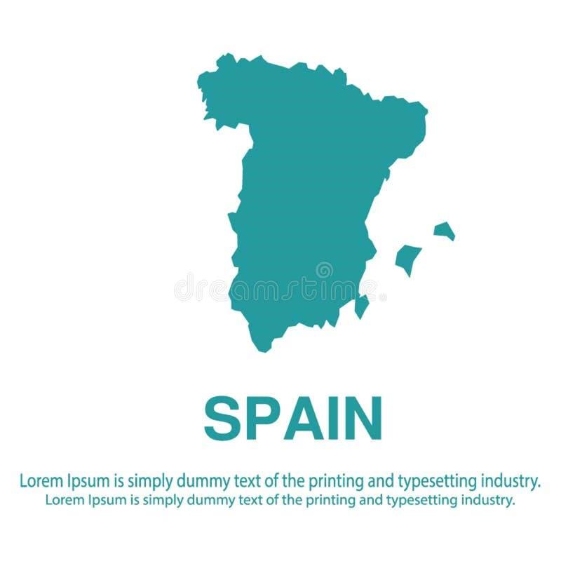 Mapa azul abstracto de España con estilo plano del fondo blanco concepto global del tono medio del mapa del mundo ilustración del vector