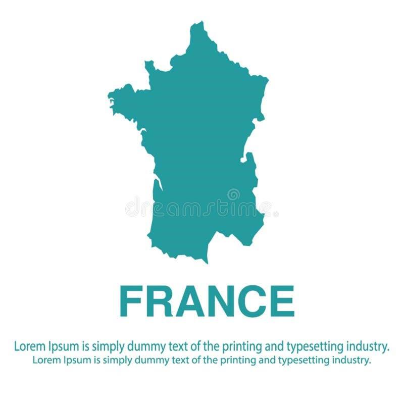 Mapa azul abstracto de Francia con estilo plano del fondo blanco concepto global del tono medio del mapa del mundo libre illustration