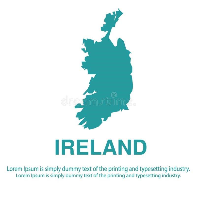 Mapa azul abstracto de Irlanda con estilo plano del fondo blanco concepto global del tono medio del mapa del mundo stock de ilustración