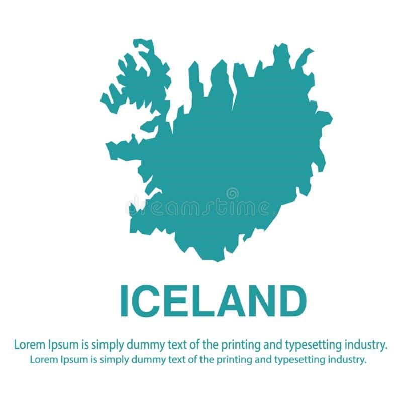Mapa azul abstracto de Islandia con estilo plano del fondo blanco concepto global del tono medio del mapa del mundo ilustración del vector