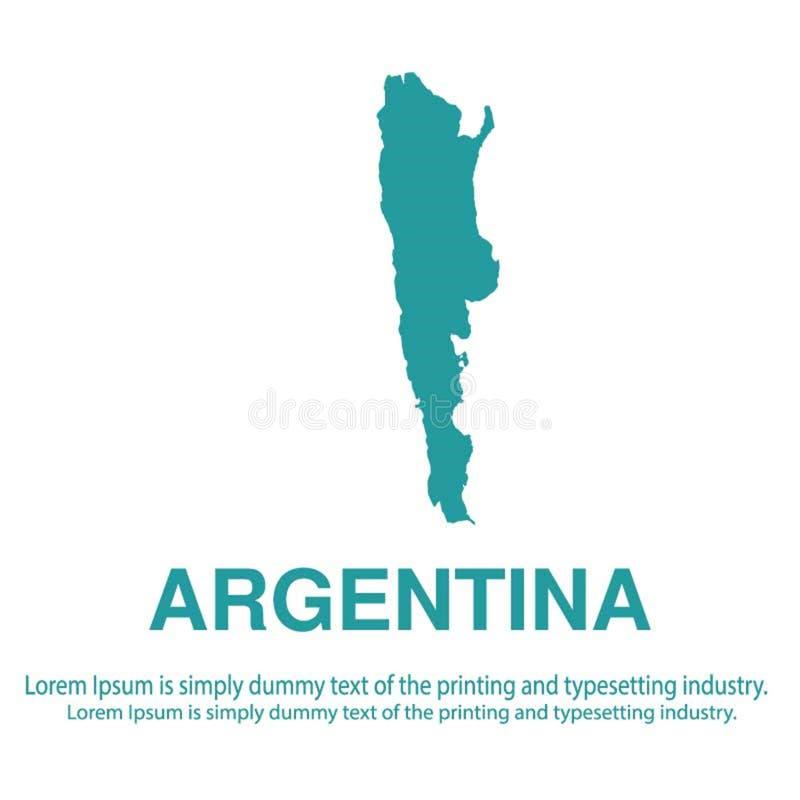 Mapa azul abstracto de la Argentina con estilo plano del fondo blanco concepto global del tono medio del mapa del mundo stock de ilustración
