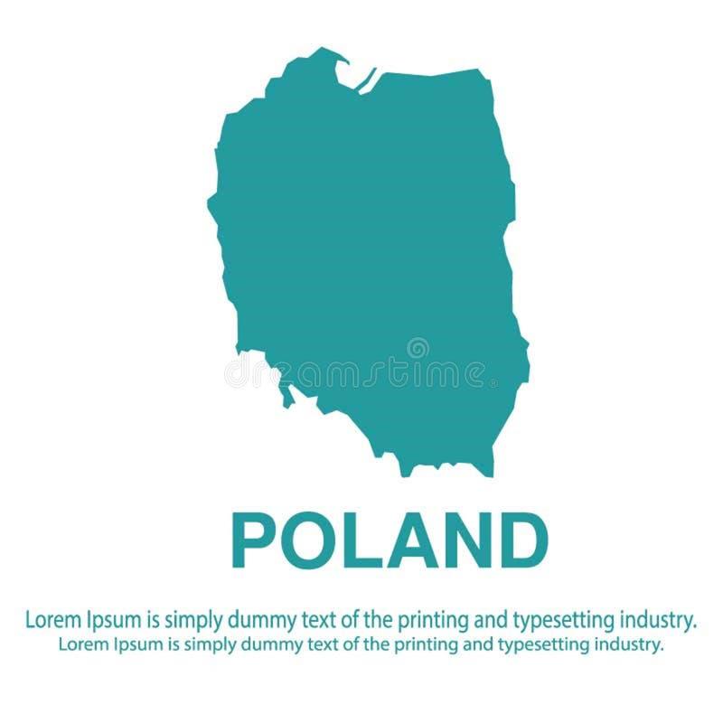 Mapa azul abstracto de Polonia con estilo plano del fondo blanco concepto global del tono medio del mapa del mundo ilustración del vector