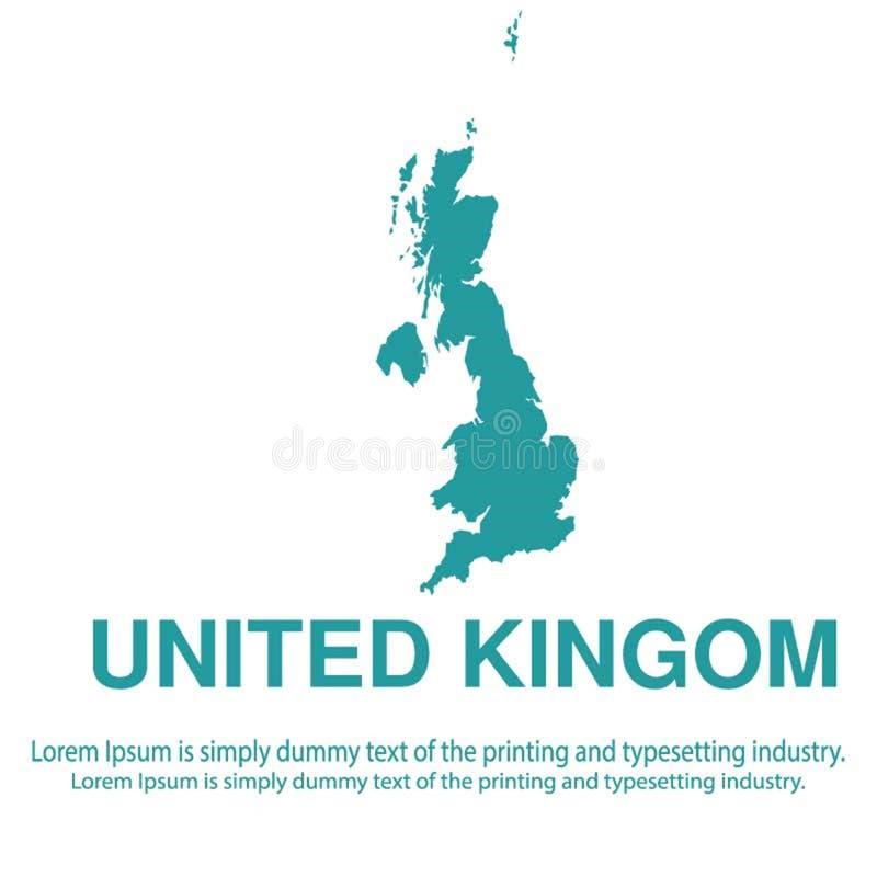 Mapa azul abstracto de Reino Unido con estilo plano del fondo blanco concepto global del tono medio del mapa del mundo libre illustration