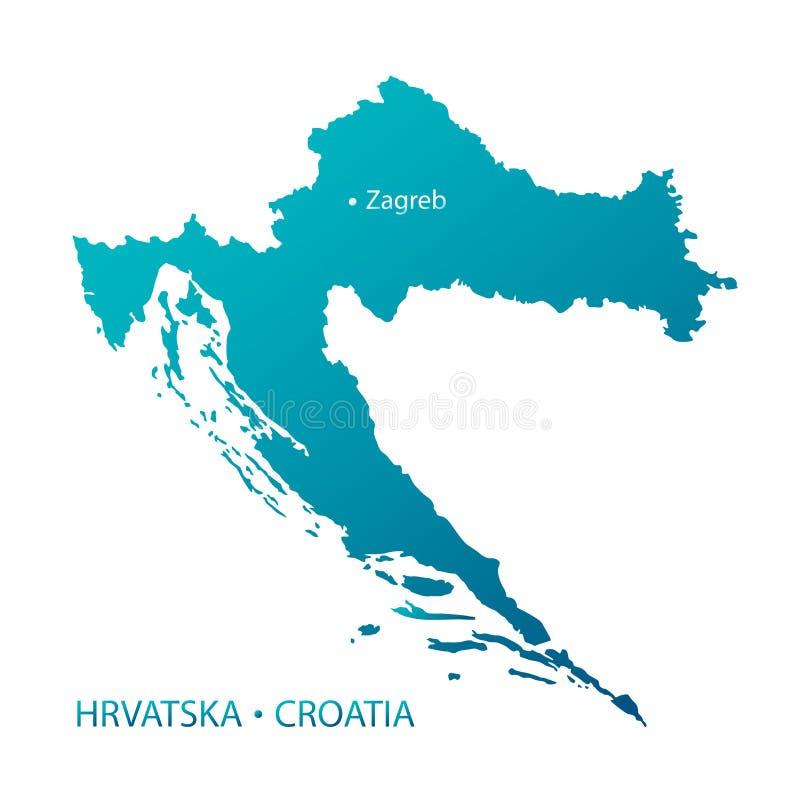 Mapa azul altamente detalhado de Croatia ilustração royalty free