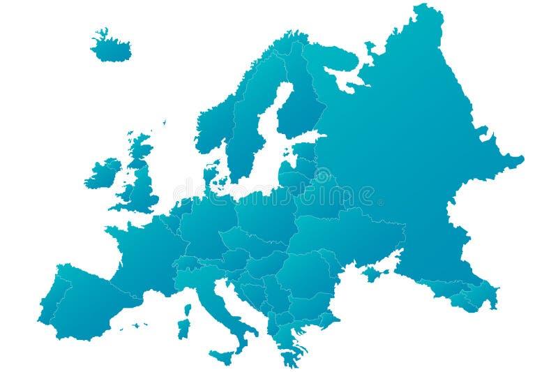 Mapa azul altamente detalhado de Europa ilustração do vetor