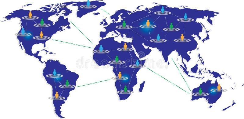 Mapa azul com o gráfico conectado do usuário ilustração stock