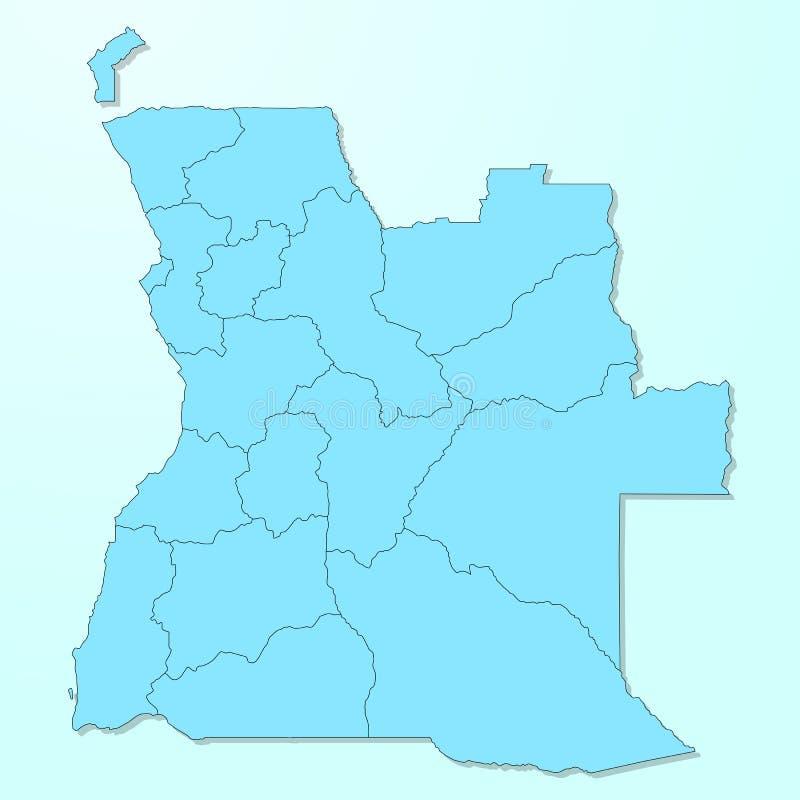 Mapa azul de Angola en fondo degradado libre illustration