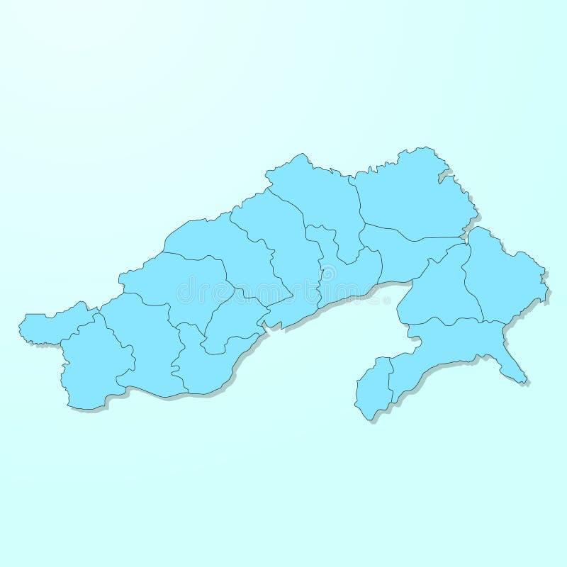 Mapa azul de Arunachal Pradesh en vector degradado del fondo stock de ilustración