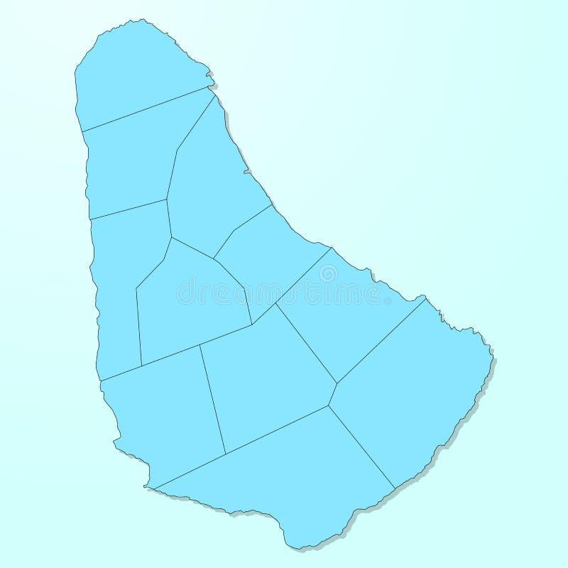 Mapa azul de Barbados en fondo degradado stock de ilustración