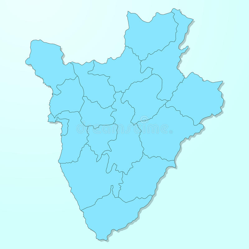 Mapa azul de Burundi en fondo degradado stock de ilustración