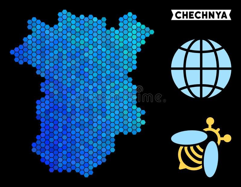Mapa azul de Chechnya do hexágono ilustração do vetor