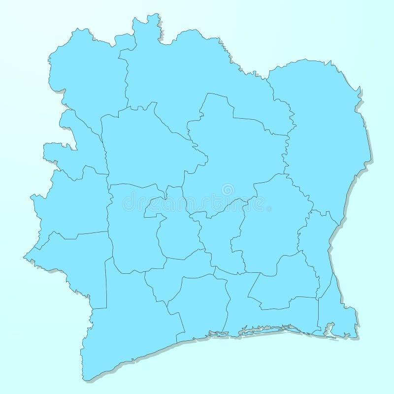Mapa azul de Costa de Marfil en fondo degradado ilustración del vector