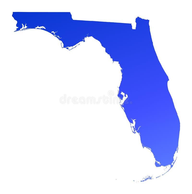 Mapa azul de Florida do inclinação ilustração stock