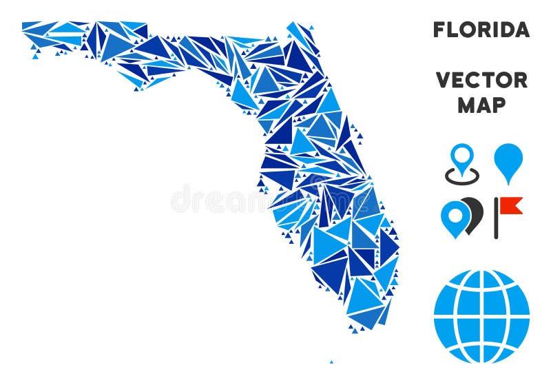 Mapa azul de Florida do triângulo ilustração stock