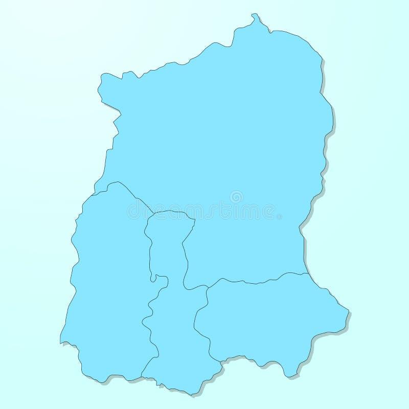 Mapa azul de Sikkim en fondo degradado ilustración del vector