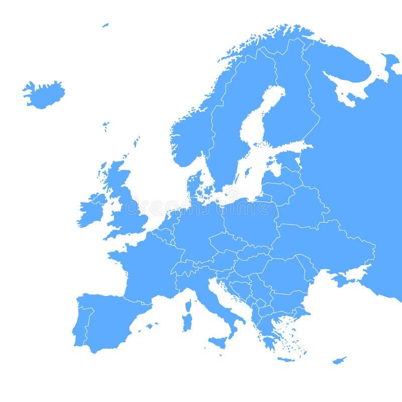 Mapa azul del vector del continente de Europa stock de ilustración