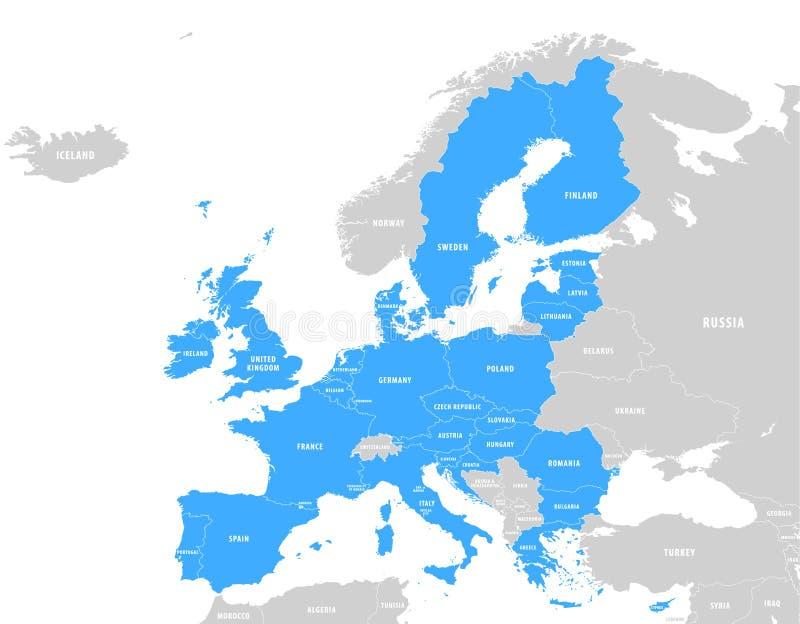 Mapa azul del vector de la unión europea stock de ilustración