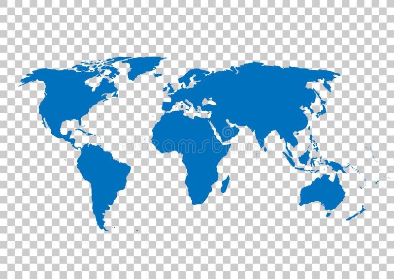 Mapa azul del vector Espacio en blanco del mapa del mundo Plantilla del mapa del mundo Mapa del mundo en el fondo de la rejilla stock de ilustración