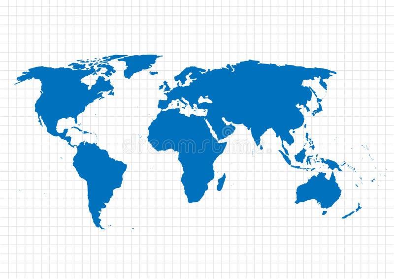 Mapa azul del vector Plantilla del mapa del mundo Mapa del mundo en el fondo de la rejilla Ilustración del vector stock de ilustración
