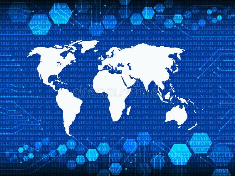 Mapa azul do atlas de mundo da segurança do Cyber com sombra da gota ilustração do vetor