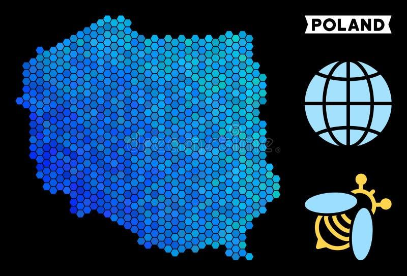 Mapa azul do Polônia do hexágono ilustração royalty free