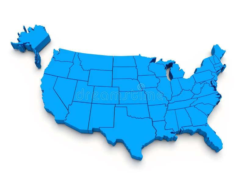 Mapa azul dos EUA. 3d imagens de stock royalty free