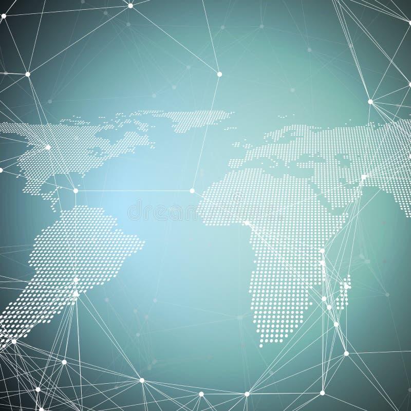 mapa błękitny świat Globalnej sieci związki, geometryczny projekt, wykopaliska dane pojęcie Abstrakcjonistyczni futurystyczni sie ilustracji