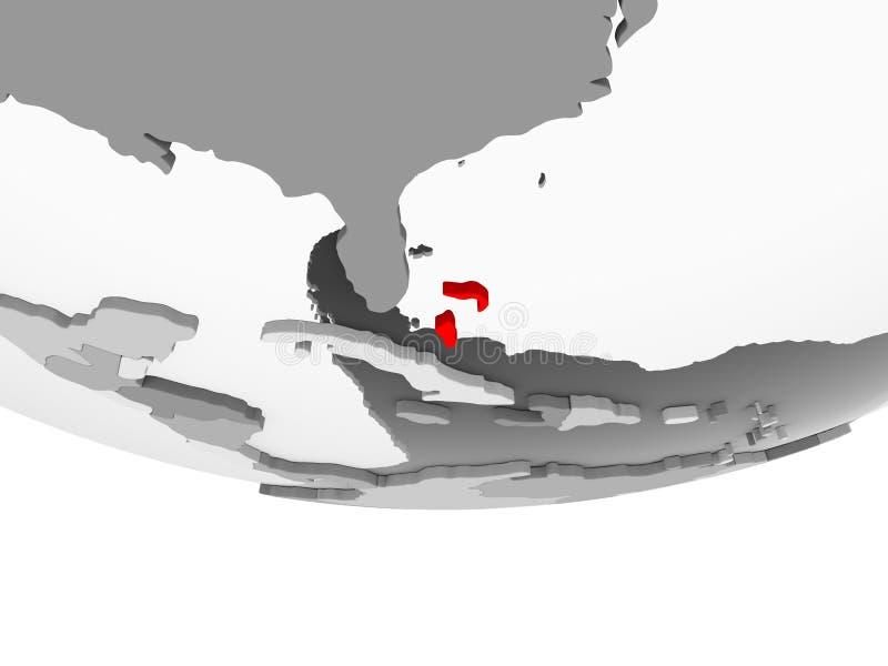 Mapa Bahamas na popielatej politycznej kuli ziemskiej ilustracja wektor