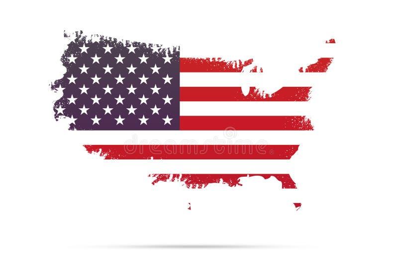 Mapa & bandeira de América em cursos da escova do estilo do grunge fotografia de stock