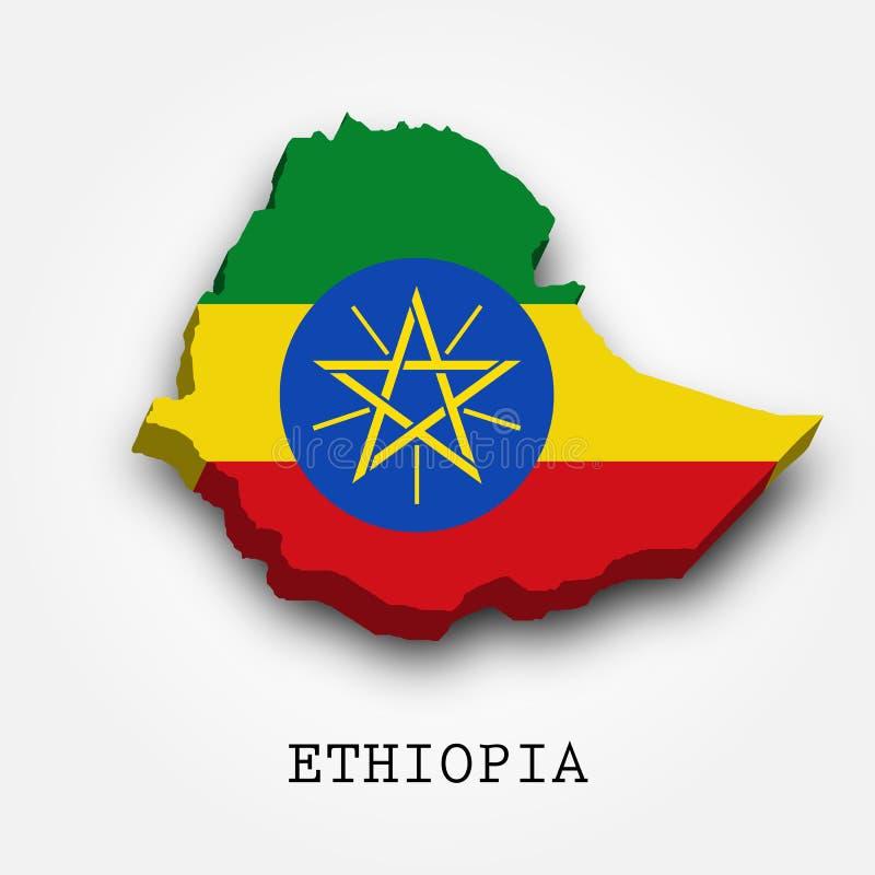 Mapa-bandeira de Etiópia 3D ilustração royalty free
