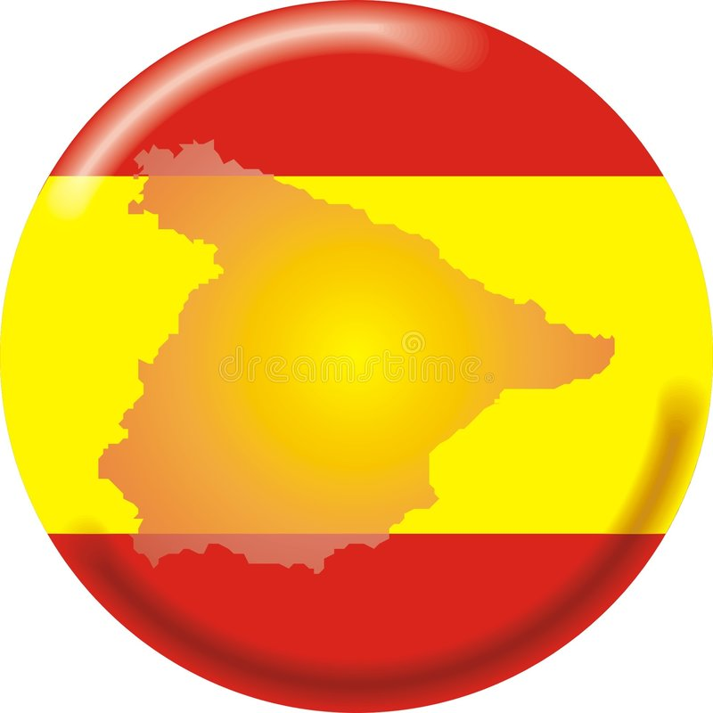 mapa bandery Hiszpanii royalty ilustracja