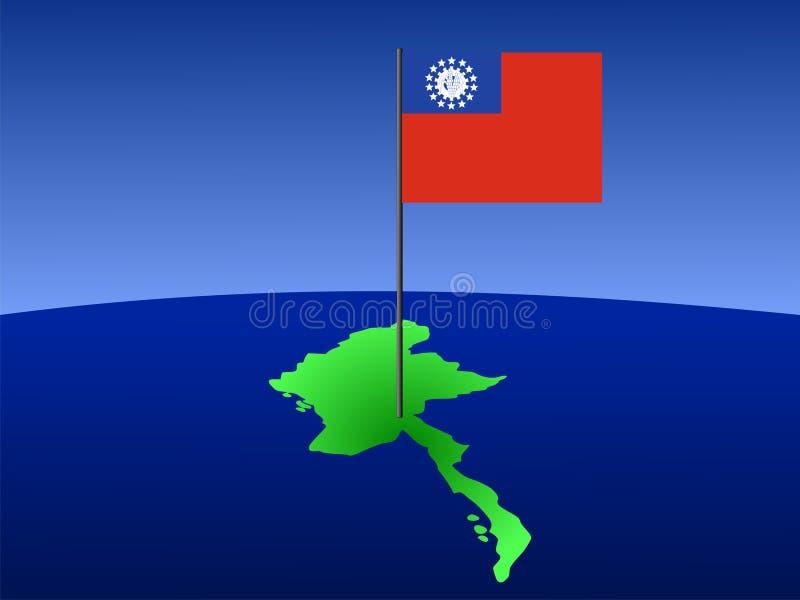 mapa bandery Myanmar ilustracja wektor