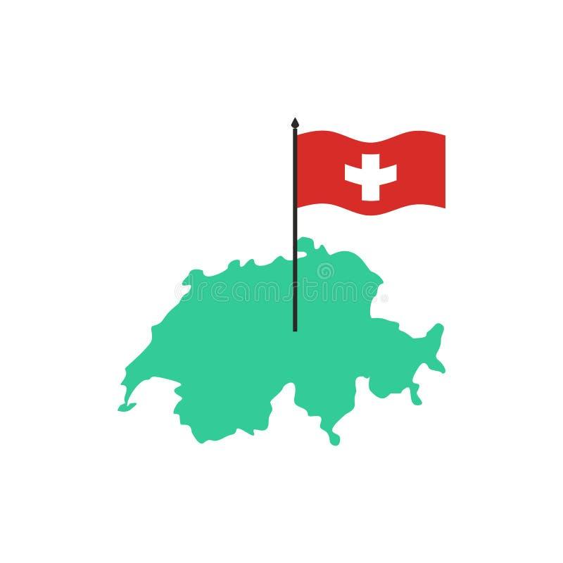 mapa bandery Szwajcarii Szwajcarski stanu znak Geografia kraj ilustracja wektor