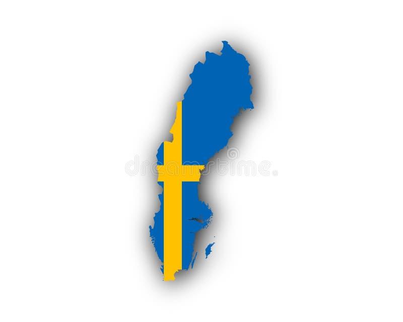 mapa bandery Szwecji ilustracji