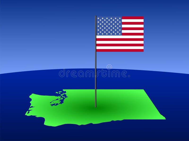 mapa bandery Waszyngton ilustracja wektor