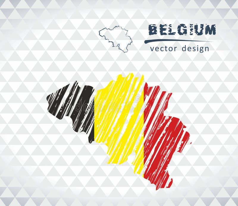 Mapa Belgia z ręka rysującą nakreślenie mapą inside również zwrócić corel ilustracji wektora ilustracja wektor