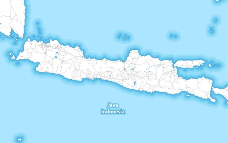 Mapa bicolor de la isla de Java, Indonesia ilustración del vector