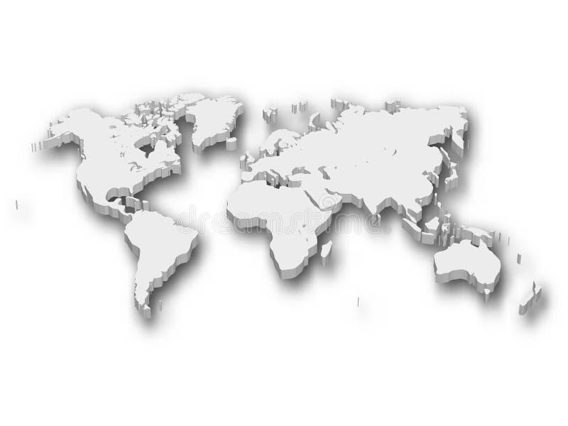 Mapa blanco 3D del mundo con la sombra aislada en blanco en fondo Ilustración del vector EPS10 libre illustration
