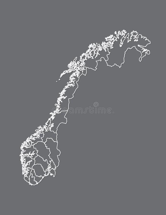 Mapa blanco de Noruega del color con las líneas de diversas regiones en vector oscuro del fondo stock de ilustración