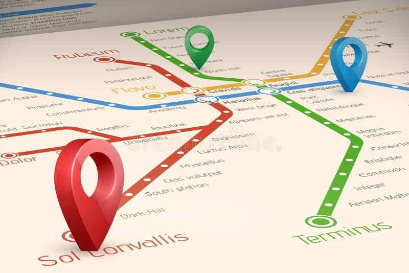 Mapa blured abstrato de Relistic de rotas do metro na perspectiva vi ilustração stock