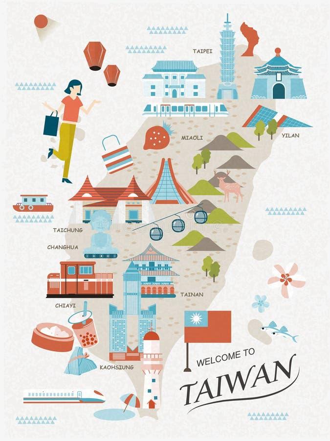Mapa bonito do curso de Taiwan ilustração royalty free