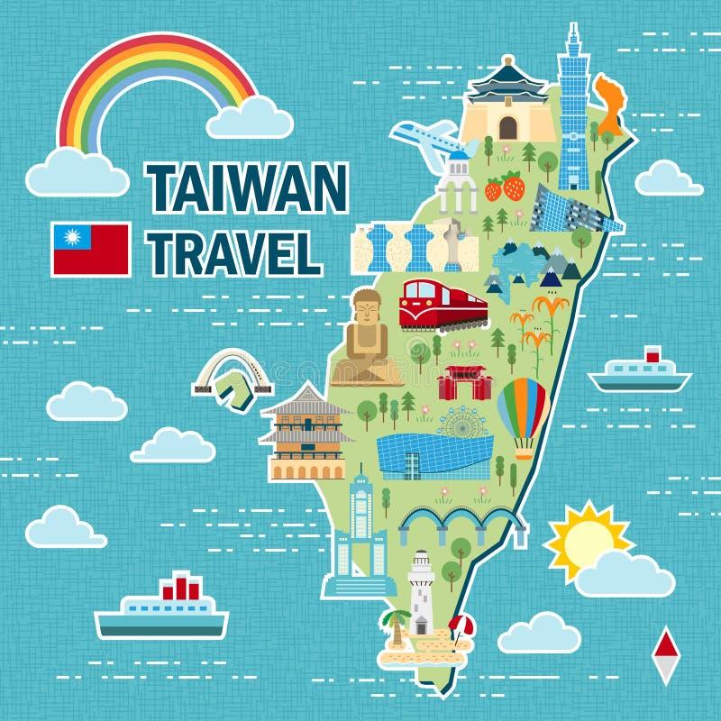 Mapa bonito do curso de Taiwan ilustração do vetor