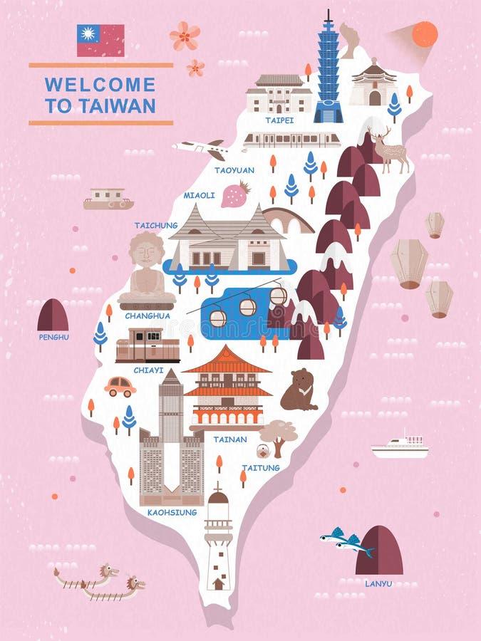 Mapa bonito do curso de Taiwan ilustração stock