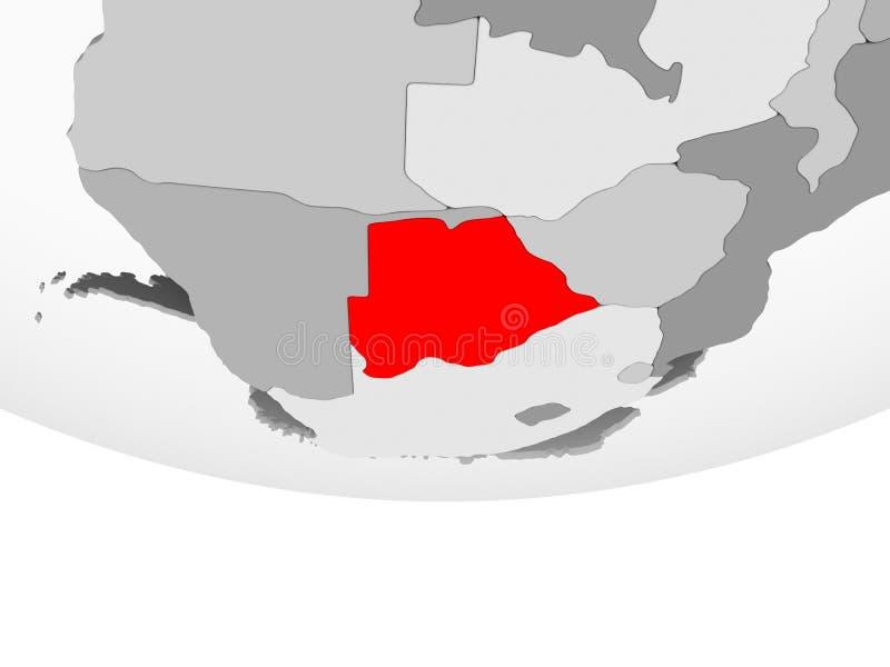 Mapa Botswana na popielatej politycznej kuli ziemskiej ilustracja wektor