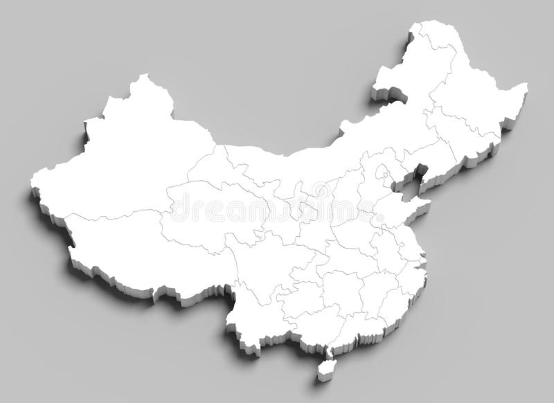 mapa branco de 3d China no cinza fotos de stock royalty free