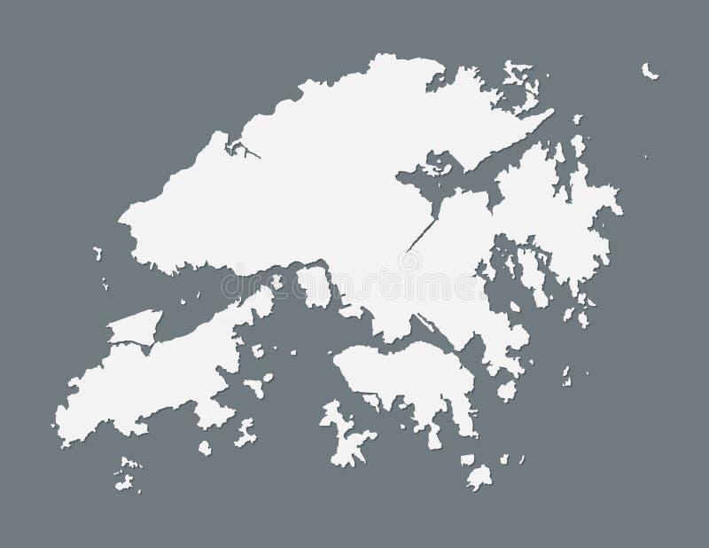 Mapa branco de Hong Kong com única linha de beira na ilustração escura do vetor do fundo ilustração royalty free