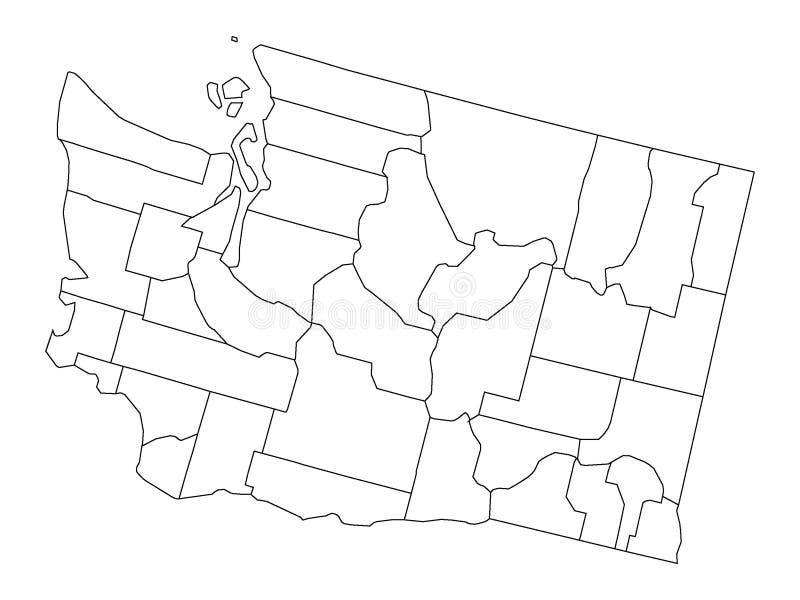 Mapa branco dos condados do estado de E.U. de Washington ilustração royalty free